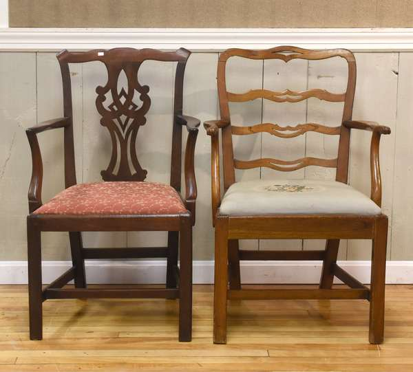 Two 18th C. Chippendale armchairs, one possibly NY, 17
