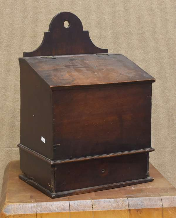 Early 19th C. one-drawer wall or salt box with lift top lid, 18