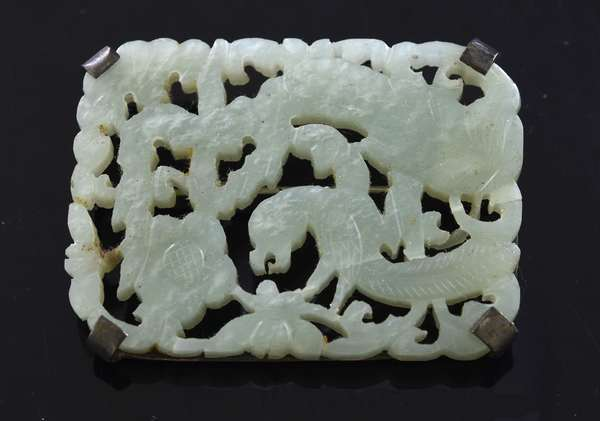 Ref 17 - Asian carved jade pendant or pin, (96-18)
