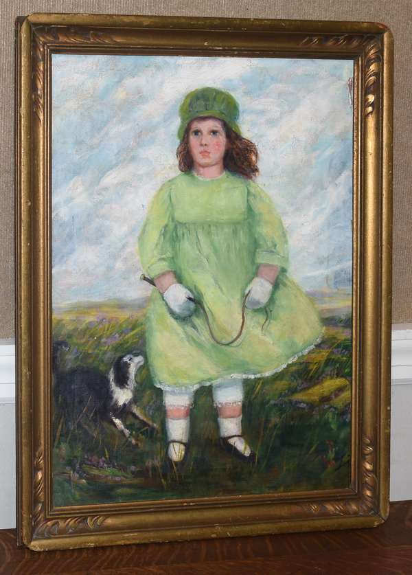 Oil on canvas, girl in green dress with her border collie, 24