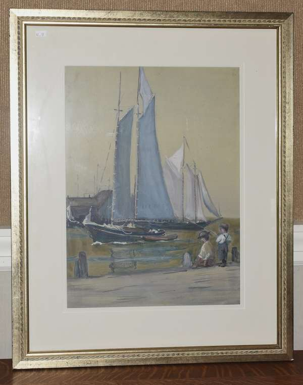 Pastel on grey paper, boys fishing at the harbor, 18