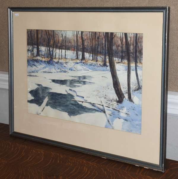 Watercolor, winter stream, signed D. Mills lower right, 14.5