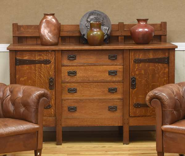 Gustave Stickley mission oak sideboard, with four drawers flanked by two doors, 67