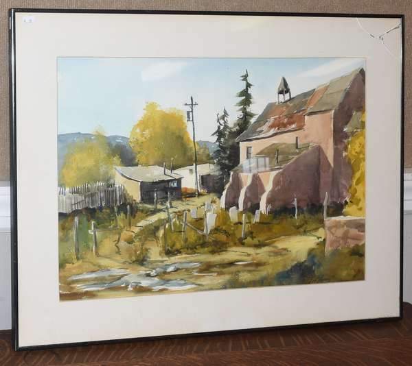 Watercolor, country church, signed L.W. Howard, 16