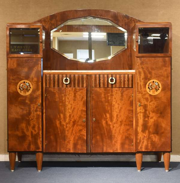 Impressive inlaid Art Deco server, with marble surface and mirror back, bone and other inlays in a basket of flowers motif, drawer fronts with striped wood and bone inlays, with bone drawer pulls, 65