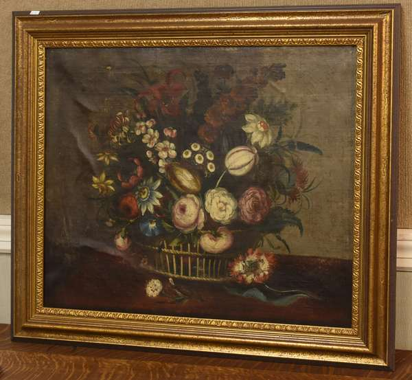 "19th C. Dutch style oil on canvas, still life with flowers, 25"" x 29"" (41-24)"