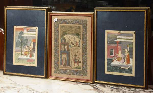 "Three Persian miniature paintings, court scenes, 6.5"" x 4.5"" to 11"" x 7.5"" (76-233)"