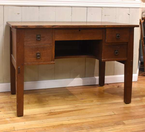 "L and JG Stickley knee-hole desk, 39""W x 24"" D x 29""H"