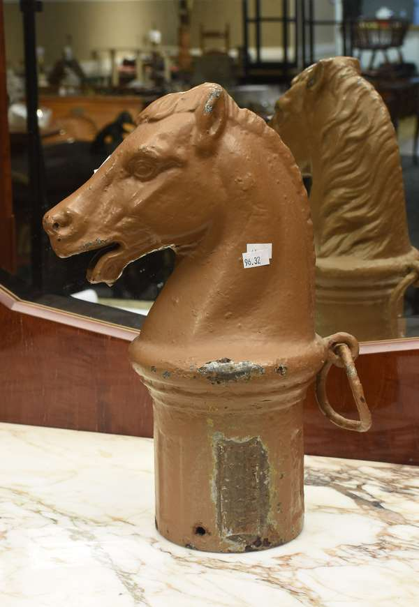 Cast iron horse head hitching post (Pat. 1872), 14