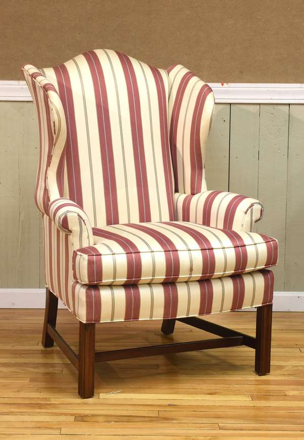 Pennsylvania House designer wing chair, with striped upholstery