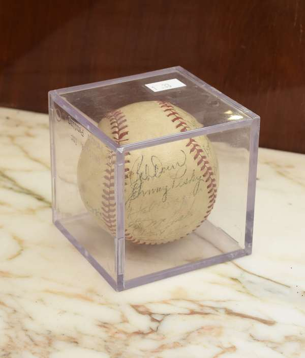 Boston Red Sox autographed baseball, with signatures including Dom DiMaggio (1-33)