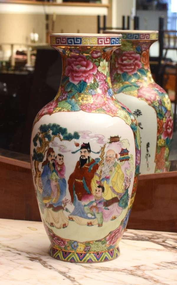 """Antique Chinese Famille Rose porcelain vase, 14"""" H (24-2)"""