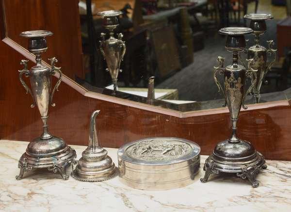 Continental silver-on-copper round box 6.5