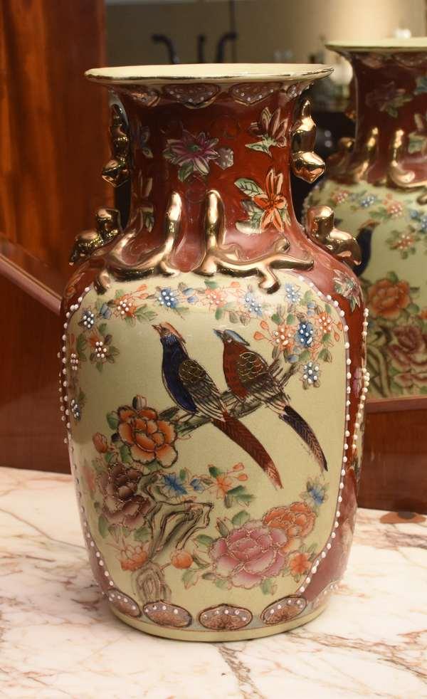 """Japanese Satsuma vase, 14"""" H (24-5)"""