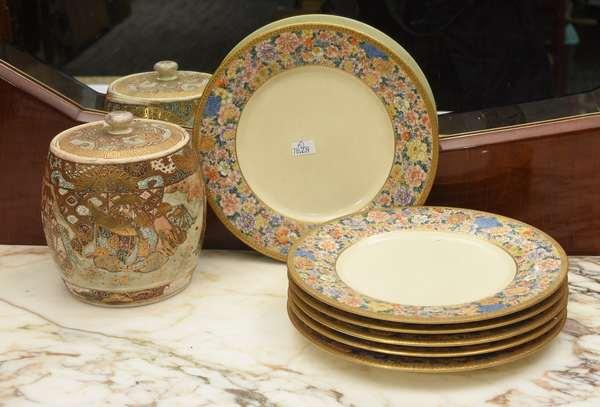 Set of 6 Japanese Satsuma plates, signed, 8