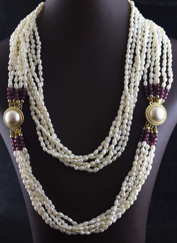 Ref 30 - Multi-strand seed pearl necklace with mabe sterling clasp, 30