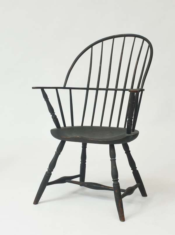 """18th C. Windsor armchair, old green over red, 37""""H. x 16"""" seat"""