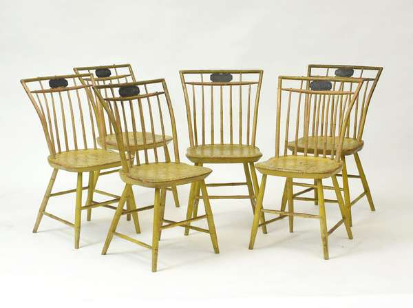 Good set of six early 19th C. bird cage Windsor chairs in old yellow and black paint, 18