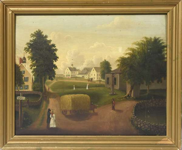 Wonderful 19th C. oil on wood board a view of Wakefield MA, titled