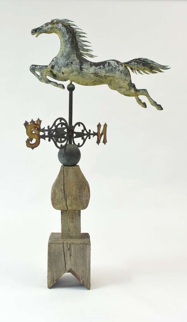 Choice late 19th C. flying horse weathervane, 35