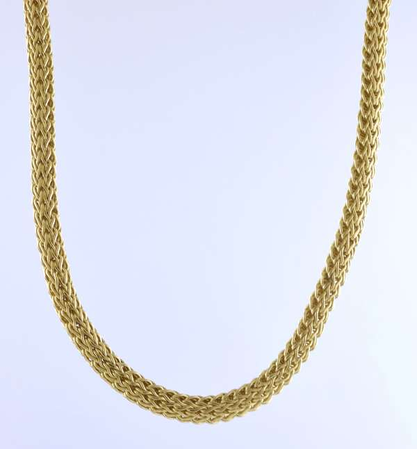 """18k yellow gold woven neck chain, John Hardy, 6.4 mm wide, 18""""L., 73.1 grams, (oversized removable bale with spring ring attachment)"""