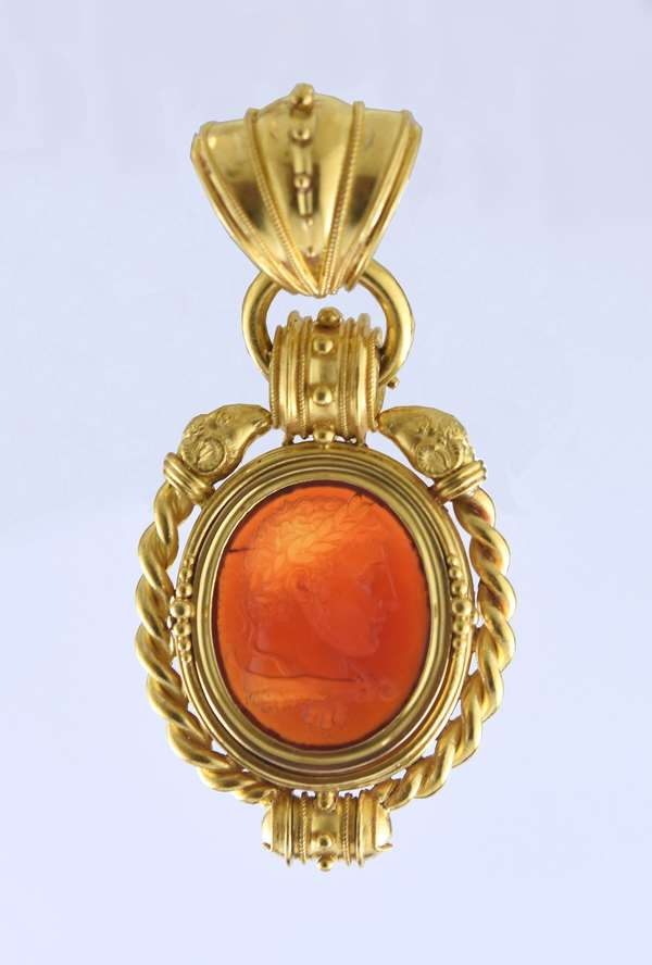 """Tested 18k yellow gold Etruscan Revival pendant set with carnelian intaglio of Caesar, 2.5""""L."""