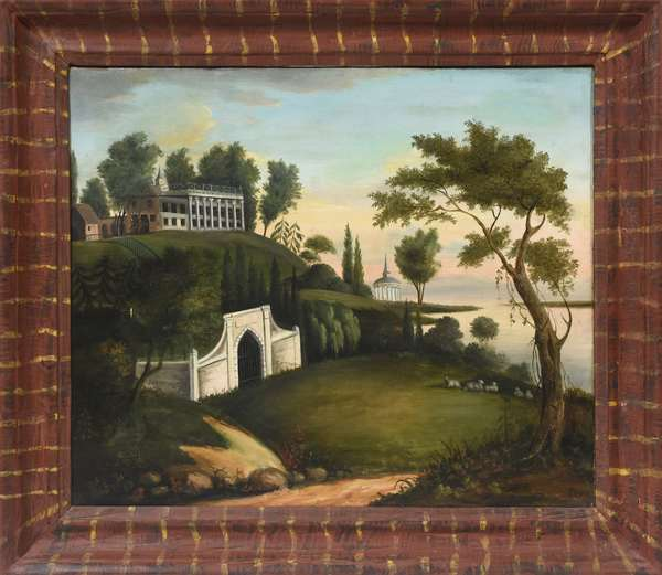 19th C. oil on canvas, American school primitive, view of Mount Vernon in painted frame, 25