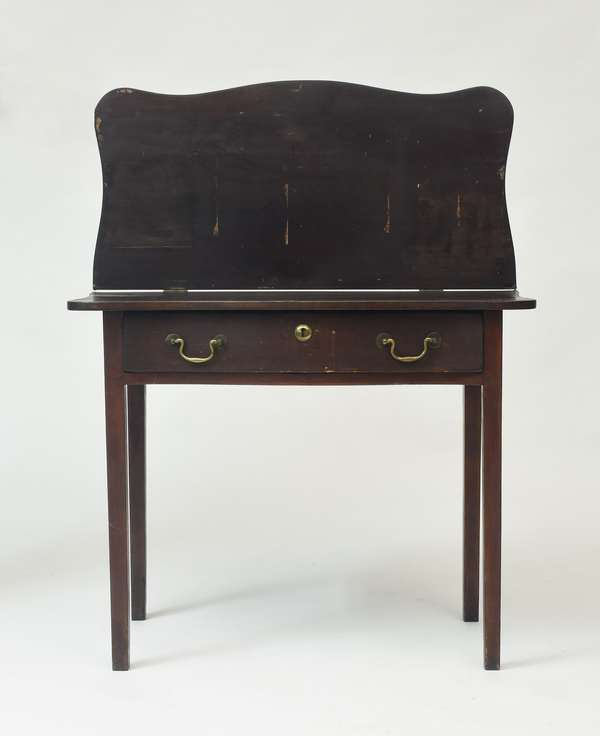 Chippendale serpentine front one drawer New England card table, old finish, ca.1800, 28