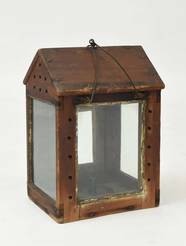 """18th C. house form wooden candle lantern, 15.5""""H."""