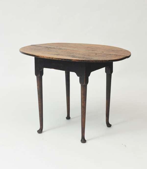 """18th C. Queen Anne figured maple Rhode Island tea table, 26.5""""H. x 36""""L. x 29""""D."""