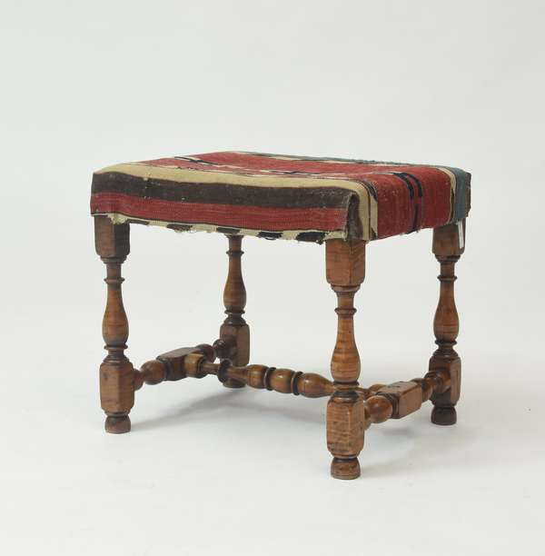 """Stretcher base tiger maple foot stool, early elements, 15""""H."""
