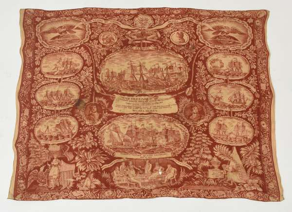 Historical Early American kerchief, The War of 1812, ca.1815, 27