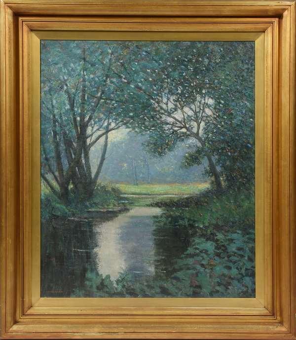"Oil on canvas, ""An Essex Stream"" signed Arthur Hoeber 30"" x 25"", original frame"