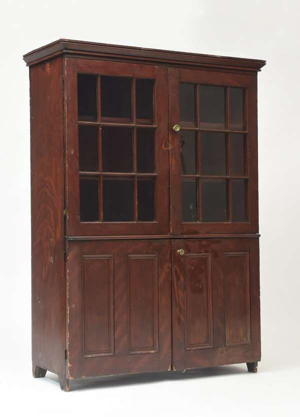 """Early 19th C. American grain painted four door cupboard, 5'11""""H. x 48""""W."""