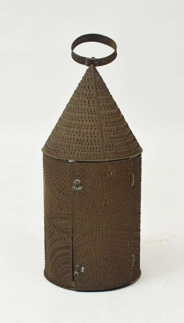 Extra large pierced tin tavern lantern, 30