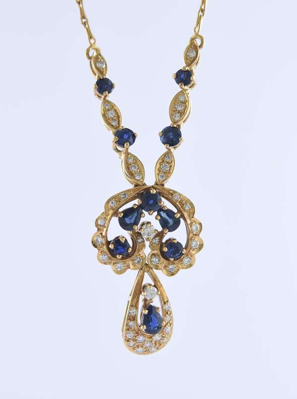 18k yellow gold blue sapphire and diamond drop necklace set with approx. 1.75 ctw sapphires and approx. .75 ctw single and full cut diamonds, 17