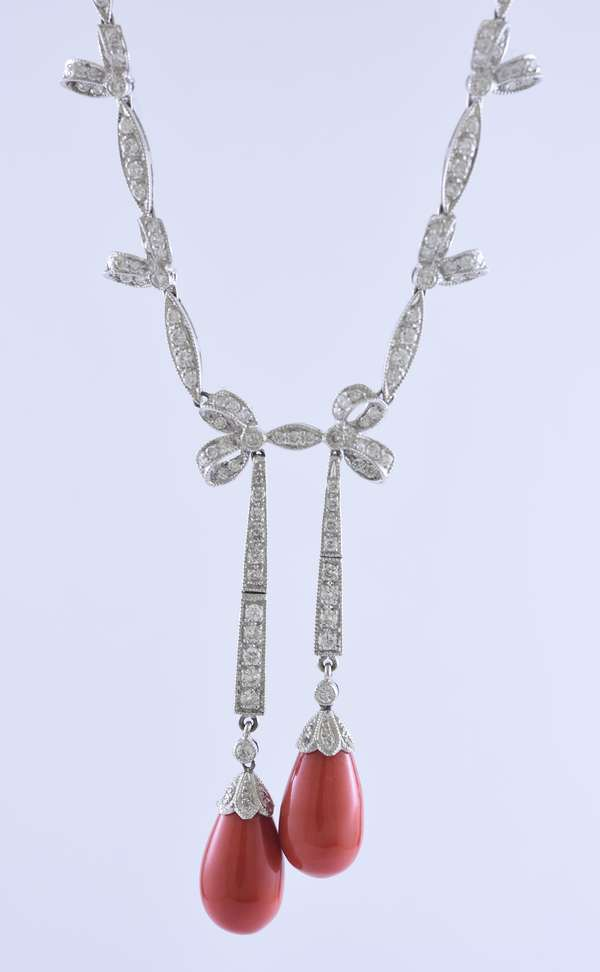 18K gold and diamond necklace with coral tear drops and approx. 4ctw of diamonds