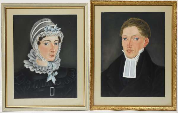 """Pair of 19th C. pastel portraits on paper, husband and wife, 14"""" x 10.5"""""""