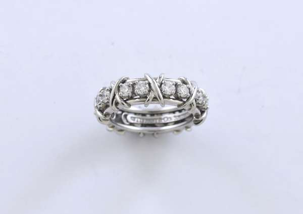 Signed Tiffany & Co. Schlumberger 16 stone diamond ring, approx. 1.15 ctw round brilliant cut diamonds, size 6, 10.5 grams