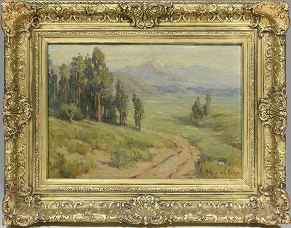 Oil on canvas, Mountain Vista, California, signed Benjamin Brown, 10