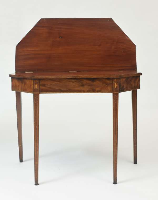 """Federal New England card table with diamond and architectural inlays, 35.5""""W. x 28""""H., ca.1810"""