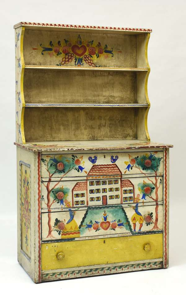 Set-back open top cupboard decorated in 1942, Peter Hunt, 38.5