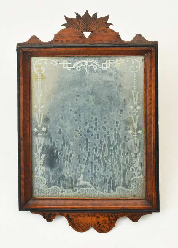 """Early carved and painted courting mirror with etched glass, 15""""H."""