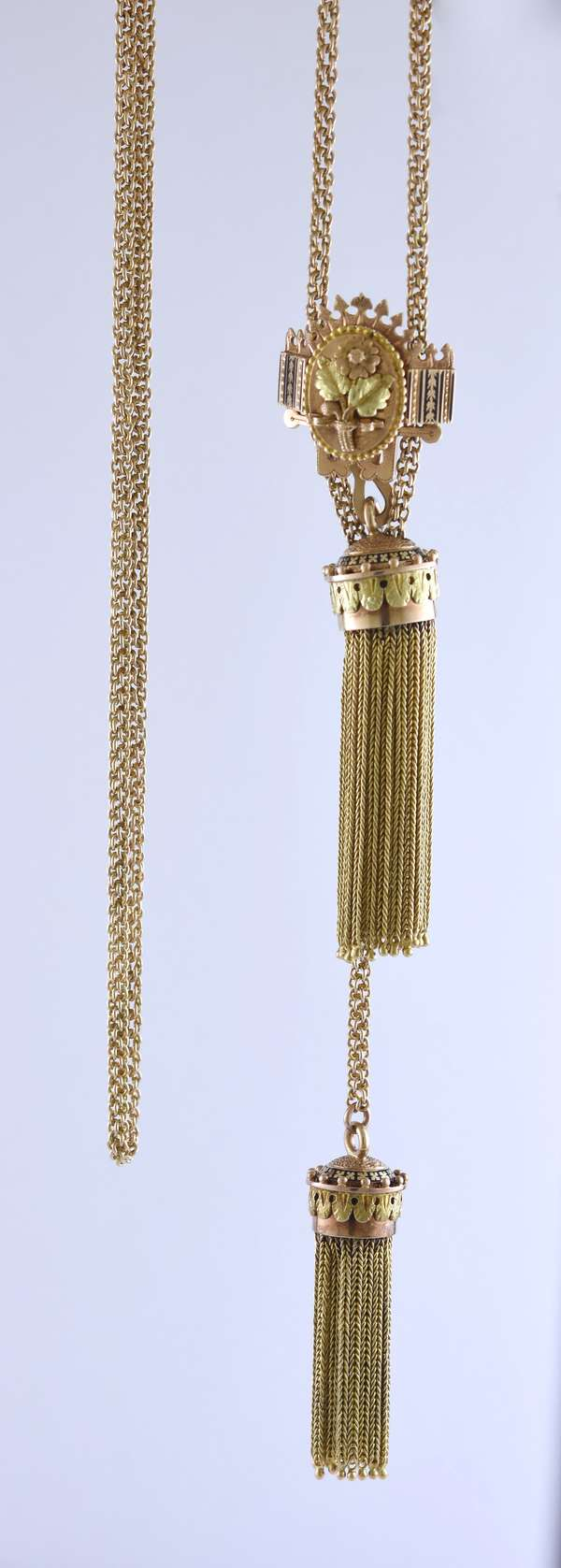 Tested 14k tri-rose, yellow and green color gold slide chain with tassels, flower motif and black enamel accents, 42