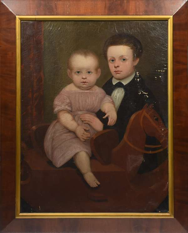 19th C. American school group portrait, children on hobby horse, 36