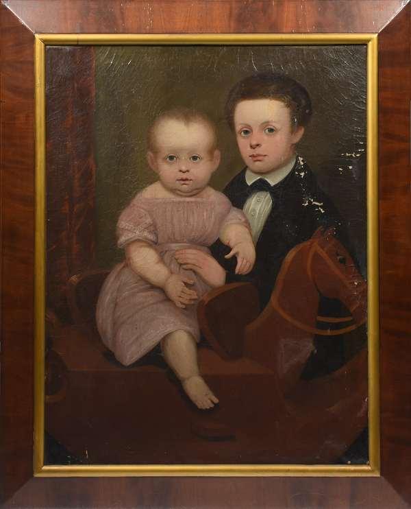 "19th C. American school group portrait, children on hobby horse, 36"" x 28"""