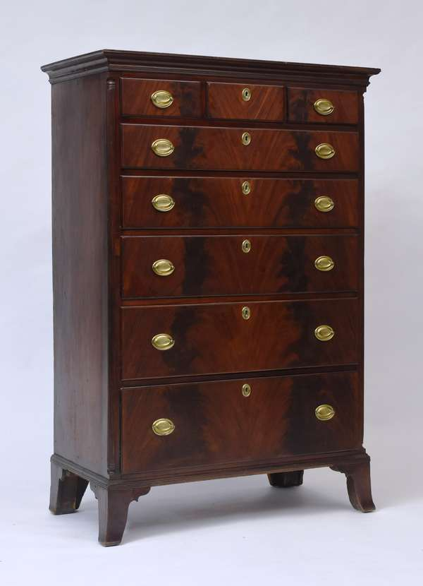 """Fine Federal cherry tall chest with quarter columns and book matched crotch mahogany drawer fronts, ca.1790, 67""""H.x 41.5""""W. x 21""""D."""