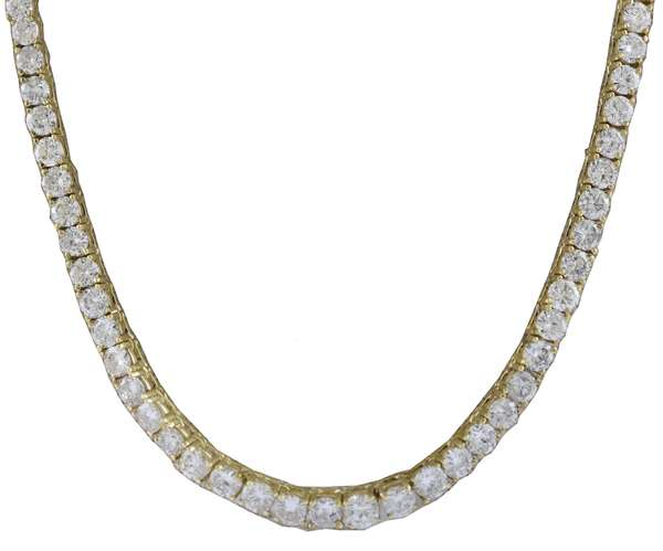 14k yellow gold graduated diamond line necklace set with approx. 13.0 ctw round brilliant cut diamonds
