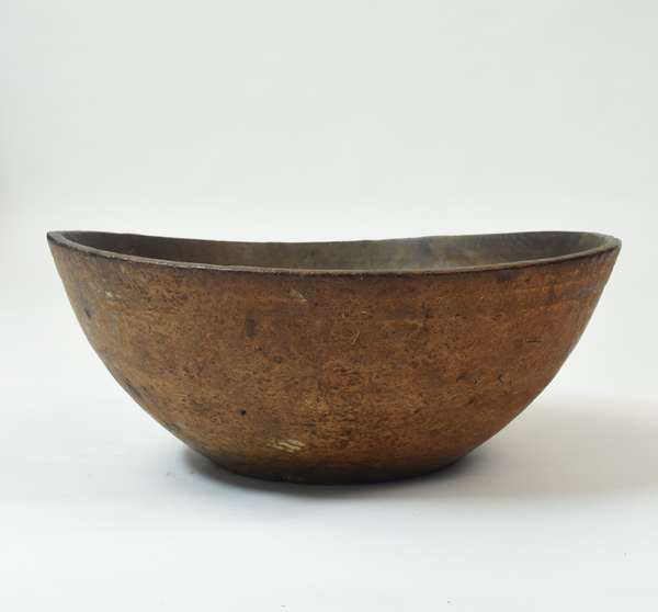 """Exceptionally large early burl wood bowl, 21.5""""L. x 20.5""""W."""