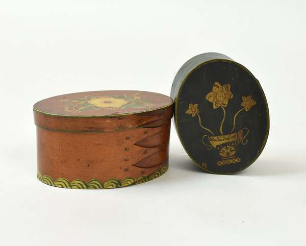 """Two 19th C. oval paint decorated finger boxes, 7.25"""" and 6.25""""L."""